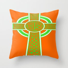St Patrick's Day Celtic Cross Green and White Throw Pillow