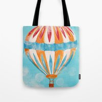hot air balloon Tote Bags featuring Hot Air Balloon #5 by Music of the Heart
