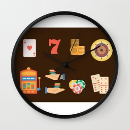 Roulette, Slots, Chips & Cards - Nevada Day Wall Clock