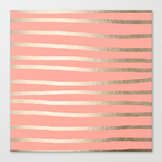 Simply Drawn Stripes in White Gold Sands and Salmon Pink Canvas Print