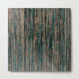 Teal and Metallic Rose Gold Marble Stripes Metal Print