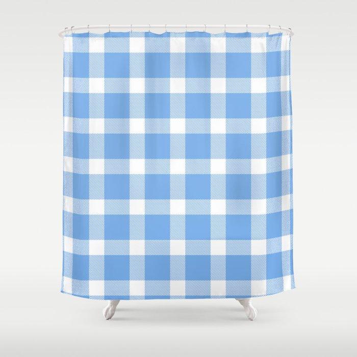 Plaid Sky Blue Shower Curtain By Onejyoo