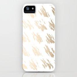 Luxe Gold Brush Polka Splotch on White iPhone Case