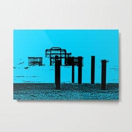 West Pier Mono Blue Metal Print