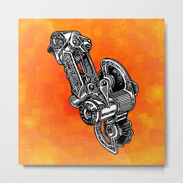 Retro Cycling Derailleur on orange Metal Print