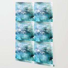 nEbulA Aqua Teal Sparkle Wallpaper