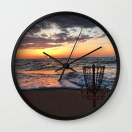 Disc Golf Basket Sunset Virginia Beach Chesapeake Innova Discraft Ocean Waves Wall Clock