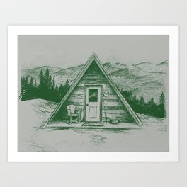 Tiny Cabin on the Mountain Art Print