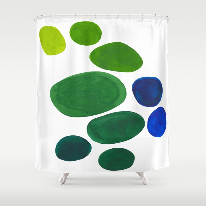 Mid Century Kusama Abstract Minimalist Colorful Pop Art Lime Green Blue Rainbow Ombre Grant Shower Curtain