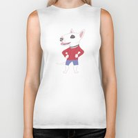 bull terrier Biker Tanks featuring Bull terrier by Tomoko K