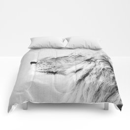 Lion Portrait - Black & White Comforters