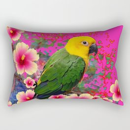 YELLOW HEADED GREEN PARROT PINK HIBISCUS  FUCHSIAFLORAL Rectangular Pillow