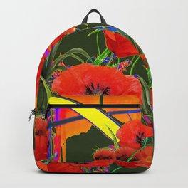 MODERN  ORIENTAL STYLE FLOWERS GREEN GARDEN DESIGN Backpack