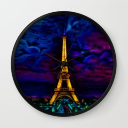 Paris Starry Night by Jeanpaul Ferro Wall Clock