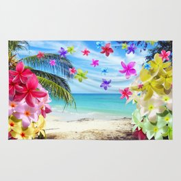 Tropical Beach and Exotic Plumeria Flowers Rug