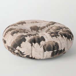 Buffalo Herd in Sepia Floor Pillow