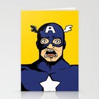 bucky barnes Stationery Cards featuring bucky!cap by zombietonbo
