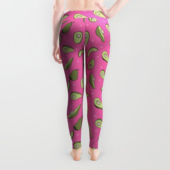Avocado pattern pink by andrea lauren minimal cute fruit vegetable food print design Leggings