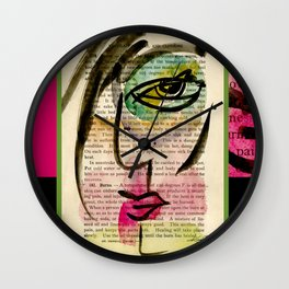 """Funky Face Abstract, """"I See 24"""" by Kathy Morton Stanion Wall Clock"""