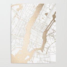 New York City White on Gold Poster