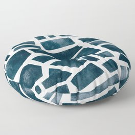abtract indigo tile pattern Floor Pillow
