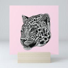 Amur leopard cub - pink - big cat Mini Art Print
