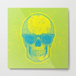 Yellow and Blue Skull w/Sunglasses Metal Print