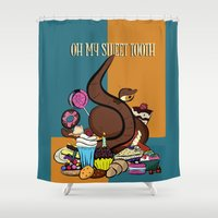 tooth Shower Curtains featuring Sweet tooth by RoyaleWithCheese