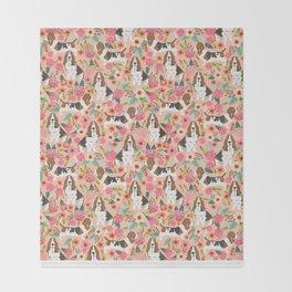 Basset Hound florals cute pink pastel gender neutral dog owner breed must have gifts dog art pets Throw Blanket