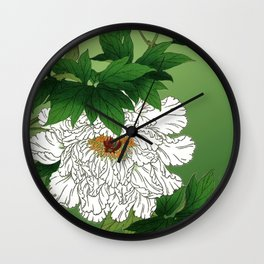 Vintage Japanese Sketch of Large White Peony Wall Clock
