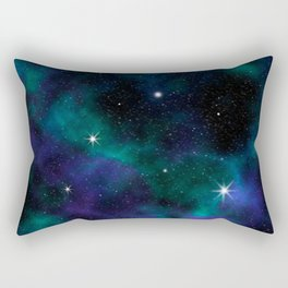 Blue Green Galaxy Rectangular Pillow
