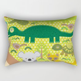 Animals Australia snake, turtle, crocodile, alliagtor, kangaroo, dingo Rectangular Pillow