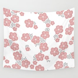 Hello spring Japanese cherry blossom love pink Wall Tapestry