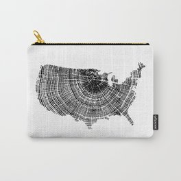 United States Print, Tree ring print, Tree rings, US map, Wood grain Carry-All Pouch