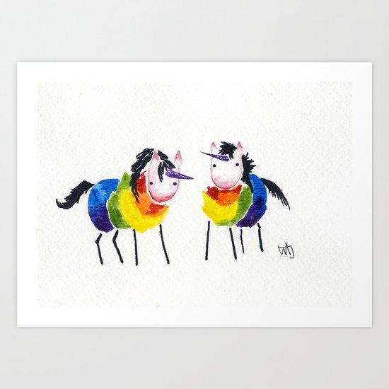 Little Rainbow Unicorns Art Print