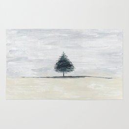 Lone tree in desert Rug