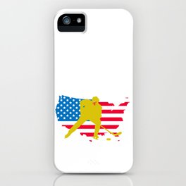 4th of July Hockey US American Flag iPhone Case