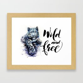 Snow leopard wild and free Framed Art Print