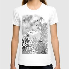 art black and white koala ostrich T-shirt