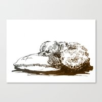 shih tzu Canvas Prints featuring Little Shih Tzu by Louise Hubbard