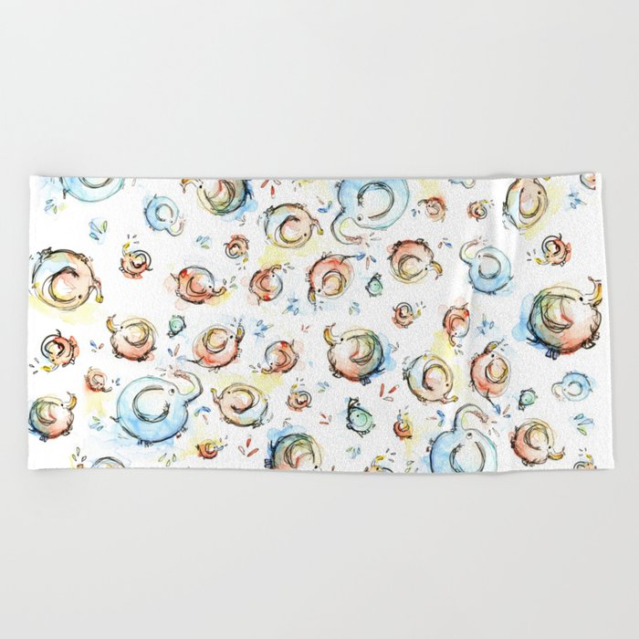 Elephants Pattern Watercolor Whimsical Animals Beach Towel