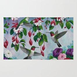 Hummingbirds in Fuchsia Flower Garden Rug