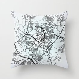 Stoke on Trent, England, White, City, Map Throw Pillow