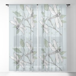 Two dragonflies Sheer Curtain