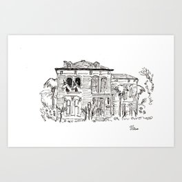 Horses in Galveston Mansion Art Print