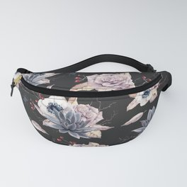 Halloween Spider Succulent Floral Pattern on a Dark Background Fanny Pack