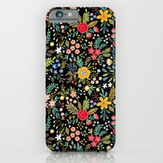 Amazing floral pattern with bright colorful flowers, plants, branches and berries on a black backgro Slim Case iPhone 6s