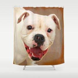 White Boxer Dog Shower Curtain