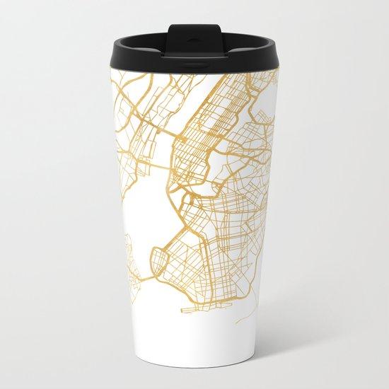 NEW YORK CITY NEW YORK CITY STREET MAP ART Metal Travel Mug