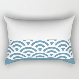 Rainbow Trim Pastel Blue Rectangular Pillow